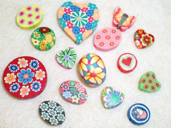 Set of 15 Mixed Polyclay/Polymer Clay/Fimo Beads