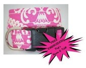 WoofWoof and Sew On - Dog Collar with Embroidered ID Info - DEMURE DOGGY DAMASK