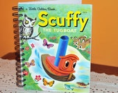 Ready Made // Vintage SCUFFY THE TUGBOAT Upcycled Recycled Repurposed Golden Book Journal