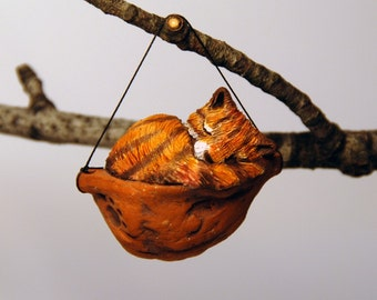 sleeping cat ornament