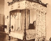 Chippendale Canopy Bed Ribbon Backed Chair 1914 Vintage Furniture Rotogravure Formal Bedroom Illustration