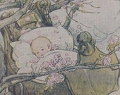 Hush A Bye Baby By Anne Anderson Lithograph 1920s Nursery Illustration To Frame