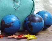Blue Candlepin Bowling Ball Set Turquoise Carry Case Ladies Gray Suede Shoes 1960 Vintage Photo Prop