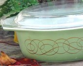 Pyrex Golden Scroll Casserole With Lid 1.50 Quarts 1959 Rare Sage Green Vintage Mid Century Kitchen Bake Ware 1950s USA