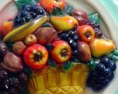 Chalkware Mixed Fruit Plaque HUGE 1950s Kitchen Kitsch Mid Century Vintage Home Decor