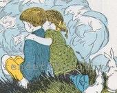 Clouds Vintage Nursery Illustration & Verse Lithograph Print To Frame Original 1927 Art