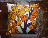 Seventies Toss Pillow Rust and Brown Leafy Tree For Your Retro Abode Classic Home Decor