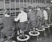 Oversea Telephone Operators 1930s Early Communication Photogravure Illustration To Frame