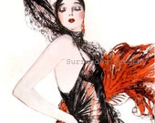 Spanish Flapper In Red Rare Roaring Twenties 1920s Vintage Advertisement Lithograph Print To Frame