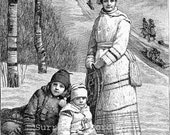 Winter Outing Victorian Mother & Kids 1892 Engraved Children's Illustration For Framing