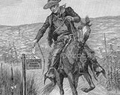 Pony Express Mailman On Horseback 1890 Vintage Victorian Print For Children