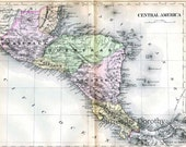 Map Central America Copper Engraved 1896 Antique Victorian Cartography To Frame