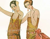 French Flapper Evening Fashions Belle Epoque Era Roaring Twenties Lithograph To Frame