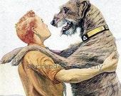 Irish Wolfhound Dog Louis Agassiz Fuertes 1910s Original Edwardian Antique Lithograph To Frame