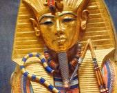 King Tut Tutankhamen's Gold Sarcophagus Rahotep Nofret Egyptian Art Vintage Color Lithograph Poster To Frame