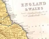 England & Wales Map 1871 Vintage Victorian Era  Lippencott Antique Copper Engraving European Cartography To Frame