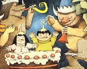 Wild Thing Birthday Party  Maurice Sendak Nursery Poster To Frame