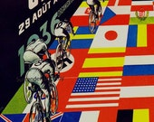 Zurich to Bern Switzerland International Bicycle Race Vintage 1930s Advertisement Lithograph Poster Ad To Frame