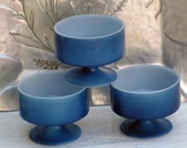 Blue Federal Glass Footed Dessert Glasses Pedestal American Vintage Kitchenware 1970s Set Of Three Bowls