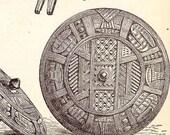 African Artifacts Cultural Anthopology Vintage 1906 Edwardian Era Engraved Illustration To Frame