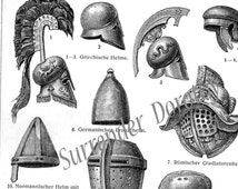 Metal Armored  Helmets Chart Vintage Edwardian Antique 1907 Military Chart To Frame