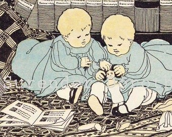 Twins Lucy Fitch Perkins Vintage Illustration Verse Children 1927 Original Nursery Lithograph For Framing