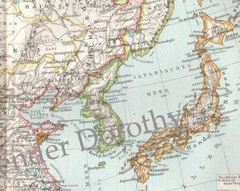China Japan Korea Map  Vintage 1903 Steel Engraving Asian Cartography To Frame
