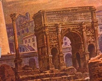 Ancient  Rome Colosseum At Dawn Natural History 1908 Edwardian Chromolithograph Illustration To Frame