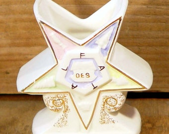 Order Of The Eastern Star Miniature Vase 1960s Vintage Collectible Lady Masons OES