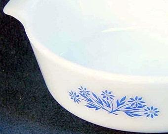 Fire King Cornflower Blue Milk Glass Vintage Casserole Classic Mid Century Bakeware