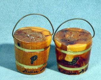 Vintage Wooden Bucket Salt & Pepper Shakers Naples Maine 1960s Tourist Kitsch Kitchen Collectibles