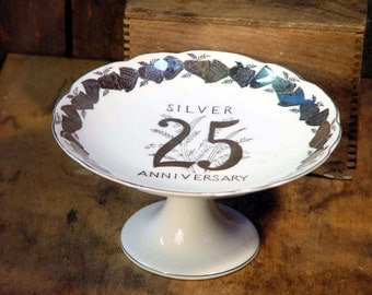 Silver Wedding Anniversary Cake Stand By Norcrest Vintage Party Ware 1970s