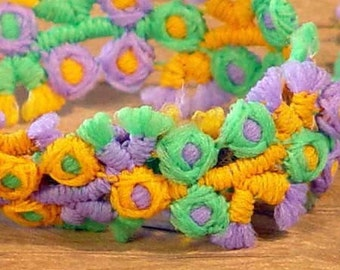 Flower Novelty Trim Two Yards New Old Stock NOS Vintage Seventies Gold Lime Lavender