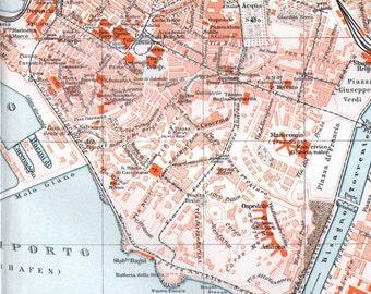 Genoa Italy European City Map Vintage Edwardian Antique Cartography 1905 Original
