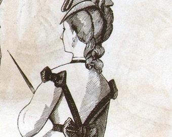 Walking Dress Ladies Vintage Victorian Fashions Hairstyles Paris France 1871 Engraving Illustration For Framing