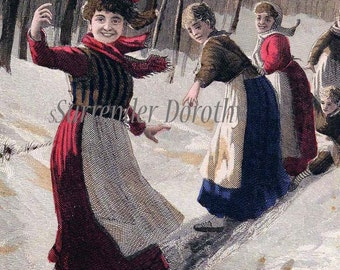 The Slide Girls Just Wanna Have Fun Vintage Victorian Winter Chromolithograph 1890 Original  Illustration To Frame
