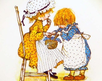 Holly Hobbie Happiness Vintage Collector Plate Sisters Girl Friends 1972 American Greetings Full Size