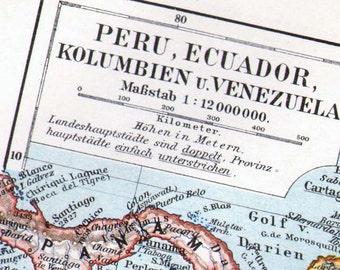Peru Ecuador South America Map 1903 Antique Edwardian Steel Engraving Vintage Cartography Geography Art To Frame