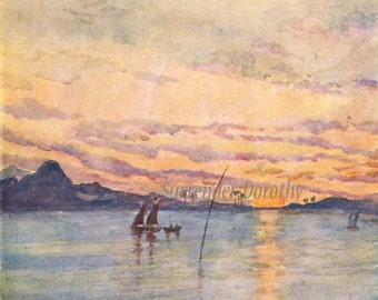 A S Forrest Sunset In Rio Harbour 1910 Original Vintage Edwardian Watercolor Lithograph To Frame