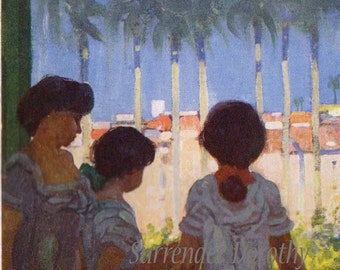 Window In Rio Mother & Daughters Lithograph By A S Forrest