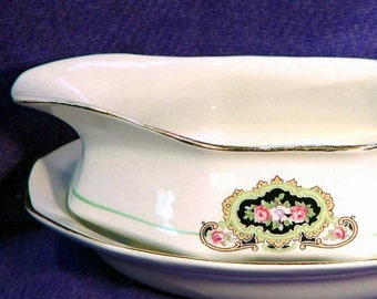 French & Company Martha Washington Gravy Sauce Boat Set 1887 Antique China For Your Holiday Table