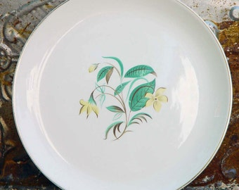 Salem Starlight  Dinner Plate Trimmed In 23k Gold Vintage Mid Century China 1950s 1960s