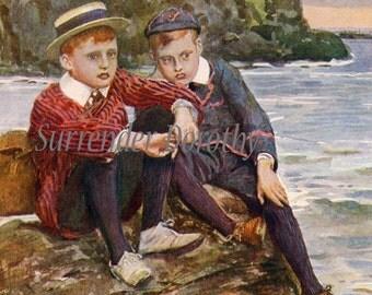 Cut Off Little Boys In Big Trouble 1911 Vintage Edwardain Era Antique Lithograph For Children