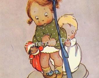 Marooned Mabel Lucie Attwell Original Vintage Children's Lithograph Illustration To Frame 1920s