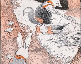 Brer Rabbit Spies Brer Fox Uncle Remus Harrison Cady 1927 Vintage Children's Art Illustration To Frame