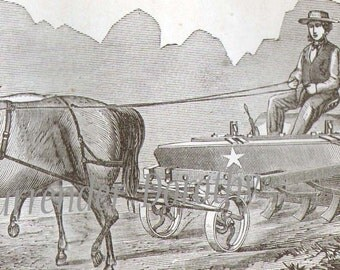 Star Drill Planter 1869 Antique Farm Agriculture Vintage Engraving Civil War Period To Frame