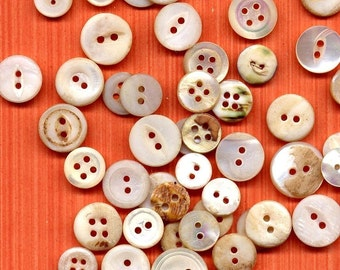 Tiny Antique Mother of Pearl Buttons Lot of 50 Antique MOP Shell Perfect For Jewelry Mixed Media Collage and Altered Art