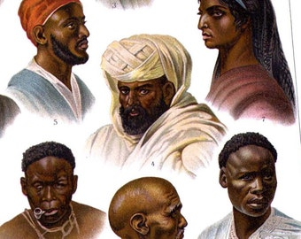 Faces Of Africa 1 Cultural Anthropology Chromolithograph Print  1903 Edwardian Era