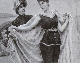 Salt Water Baths For Health, Beauty Fitness Vintage Illustration For Women 1910 Edwardian Era Black & White