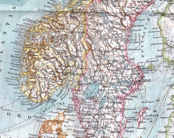 Norway Sweden Map Antique Edwardian Vintage 1906 European Cartography To Frame